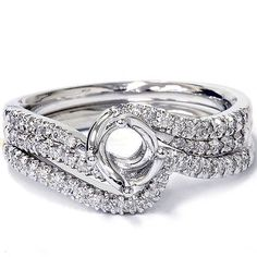 1/3ct Twist Diamond Engagement Wedding Ring Mount Set 14K White Gold