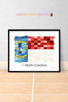 North Carolina Flag Print Poster Wall art North Carolina US State flags NC printable download Home Decor Digital Print gift GreenGreenDreams
