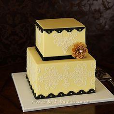Cakes by Lorinda Lemon Wedding Cakes, Elegant Wedding Cakes, Beautiful Wedding Cakes, Gorgeous Cakes, Pretty Cakes, Cute Cakes, Amazing Cakes, Fondant Cake Designs, Fondant Cakes