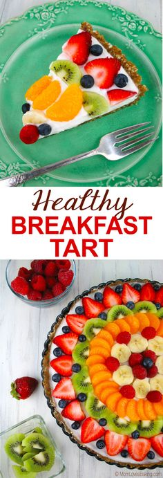 Healthy Breakfast Tart has a gluten free crust made of nuts, then topped with non-fat yogurt and fresh fruits for a healthier breakfast with no refined sugar.Healthy Breakfast Tart. Get the recipe on MomLovesBaking.com