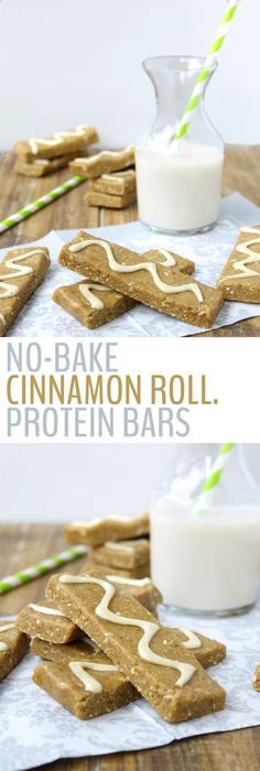 Healthy No-Bake Cinnamon Roll Protein Bars - Your favorite dessert just got a protein makeover! The perfect school or work snack for an afternoon pick-me-up!