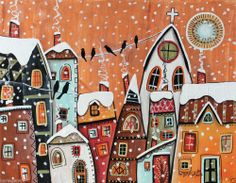 Winter Birds 14x11 Houses Birds Church ORIGINAL Canvas PAINTING FOLK ART Karla G..Brand new painting, for sale..