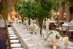 A garden feel in an indoor venue by using tall arrangements of tree branches and small floral arrangement on the tables