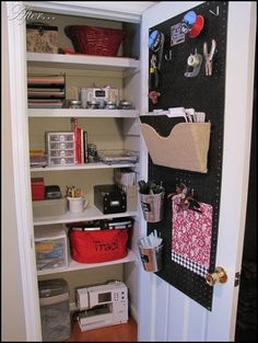 A peg board and a shoe organizer are smart ways to use the inside of a closet door.