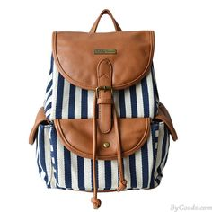 Unique Navy Style Stripe Splicing Leather Backpack only $29.99 in ByGoods.com!