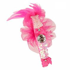 Giselle Hot Pink Tulle Flower Headband with Sequin and Feathers