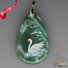 HAND PAINTED SWAN BIRD BANDED GREEN CHALCEDONY GEMSTONE PENDANT ZL8014974 #ZL #PENDANT