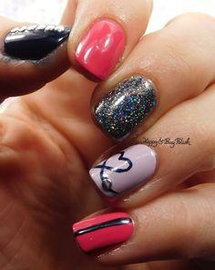 heart nail art with Sally Hansen Watermelon Wizz, Heather Hues, Midnight Drive, Stella Chroma Karavaki | Be Happy And Buy Polish