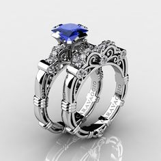 Art Masters Caravaggio 14K White Gold 1.25 Ct Princess Blue Sapphire Diamond Engagement Ring Wedding Band Set R623PS-14KWGDBS
