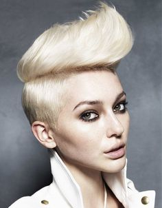 Short Blonde straight coloured quiff sculptured womens haircut hairstyles for women