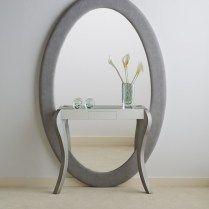 Entrada plata envejecida gran espejo oval OVAL