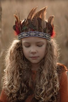 Boho feather headpiece, sunset and curls. Child photographer, mini sessions, grass field , children, photography