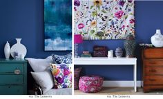 Liking the floral pattern eith the blue walls!