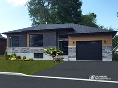 Discover the plan - Aspendale 6 from the Drummond House Plans house collection. One-story split entry affordable house plan with attached garage, 2 bedrooms, laundry area. Black House Exterior, House Paint Exterior, Modern Bungalow House, Modern House Design, Tiny House, Plan Ville, Affordable House Plans, Drummond House Plans, Architectural House Plans