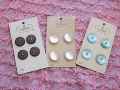 3 Cards Vintage La Mode Buttons Pearly Pink, Pearly Blue, and Brown, $2.49 These would be great for baby clothing or crafting