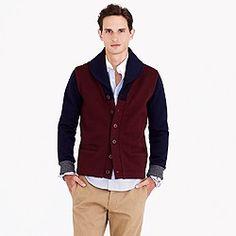 Dehen® for J.Crew shawl-collar cardigan in maroon colorblock wool