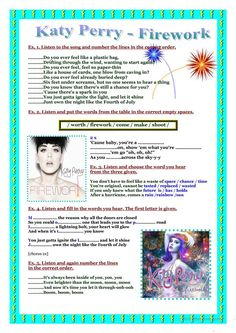 Song worksheet- Katy Perry- Firework worksheet - Free ESL printable worksheets made by teachers Learn To Speak Portuguese, Portuguese Lessons, English Lessons, Learn English, Portuguese Grammar, Portuguese Language, English Grammar, English Language, Songs For Teenagers