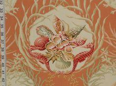Orange seashell fabric coral seahorse still life from Brick House Fabric: Novelty Fabric