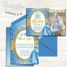 PRINCESS CINDERELLA BIRTHDAY INVITATION PRINTABLE DIGITAL FILE     Do you have a big Cinderella fan at home that's excited to have a Princess Cinderella birthday party? Then look no further than this whimsically vibrant and playful invitation to help make their dreams come true! From blue and gold, to the sheen and trendy patterns, this adorable Cinderella birthday invitation is sure to please your little princess and kick off the party in style! Cinderella Invitations, Princess Birthday Invitations, Cinderella Birthday, Printable Birthday Invitations, Princess Party, Little Princess, Vibrant, Birthday Parties, Fan