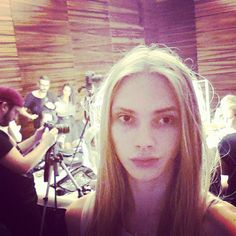 Good morning London :) #backstage at ada & nik show #LFW #SS15 Waiting to get my #hair and #makeup done