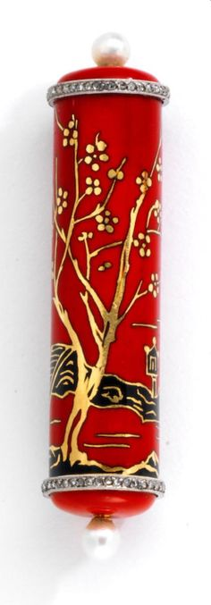 Lacloche Frères - An Art Deco enamel, diamond, cultured pearl and 18k gold lipstick case, circa 1925. Cylindrical, capped at each end with a pearl and band of rose-cut diamonds, the body with Chinese riverbank landscape; signed Lacloche Frères, Paris, numbered; length: 2 1/2in.