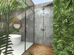 Browse Outdoor Shower Design Ideas For Swimming Pools Areas. Click and take a look at all outdoor shower ideas at The Architecture Designs. Shower Stall, Glass Bathroom, Outdoor Bathtub, Tropical Bathroom, Shower Design, Outdoor Pool Shower, Outdoor Baths, Garden Tub, Bathroom Design