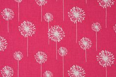 Premier Prints Small Dandelion Printed Cotton Drapery Fabric in Candy Pink & White