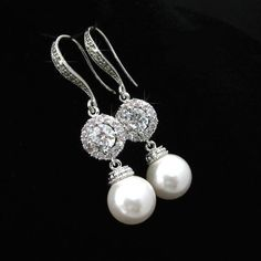 Handmade Cubic Zirconia CZ & Swarovski Pearl Bridal Earrings (Pearl-479-U) #Handmade