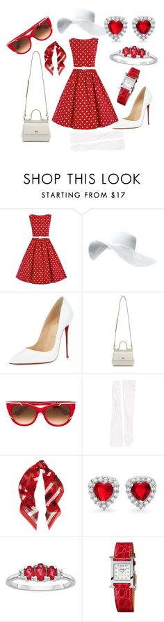 """""""red outfit"""" by didimarley on Polyvore featuring Christian Louboutin, Dolce&Gabbana, Thierry Lasry, Carolina Amato, Alexander McQueen, Sterling Essentials and Hermès"""
