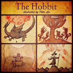 Peter Sis illustrations for The Hobbit book. #thehobbit #hobbit #bilbo #gollum #gandalf #dragon #wolf #smaug #baggins
