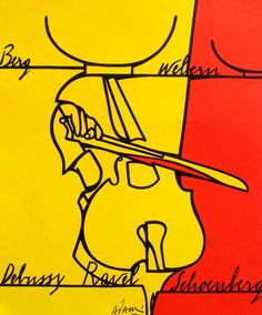 Valerio Adami Cello Berg Webern Debussy Ravel Schönberg Or.Farblithographie 1976