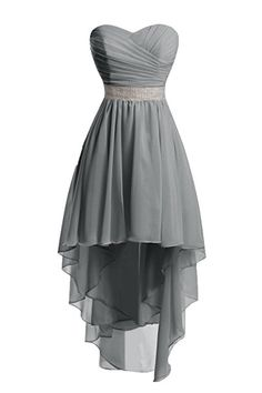 Chengzhong Sun Women High Low Lace Up Prom Party Homecoming Dresses (12, Steel Grey )