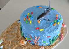 Shark cake  J loved it http://www.mistylynnwhat.blogspot.com/2012/09/lego-minifig-shark-cake-birthday.html
