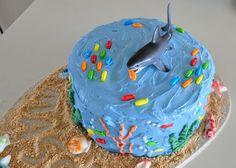 Shark cake  J loved it http://www.mistylynnwhat.blogspot.com/2012/09/lego-minifig-shark-cake-birthday.html