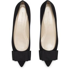 Erika Bow Flat (755 BRL) ❤ liked on Polyvore featuring shoes, flats, scarpe, schuhe, black flat shoes, pointy toe flats, bow shoes, black pointed toe flats and flat pumps