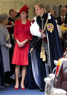 Kate joins her husband Prince William - dressed in ceremonial robes - as they wait for their car to pick them up following the service