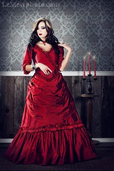 Mina Dracula Victorian Gothic Custom Silk Gown by RomanticThreads, $1150.00