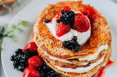 Špaldové lievance - ravita.sk Spelt Pancakes, Breakfast, Ethnic Recipes, Food, Morning Coffee, Essen, Meals, Yemek, Eten