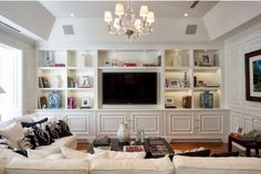 Built in wall units for living rooms beautiful home entertainment centers ideas for the better life Living Room Built Ins, Living Room Shelves, Home Living Room, Living Room Decor, Wall Cabinets Living Room, Living Area, Bedroom Decor, Tv Built In, Built In Bookcase