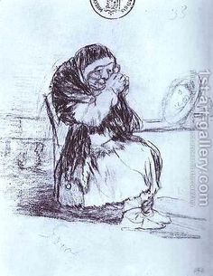 The Old Woman with a Mirror by Francisco De Goya y Lucientes