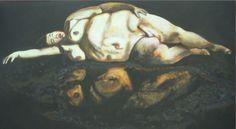 dicke Dame, Gemälde auf Hombroich - Foto: S. Hopp