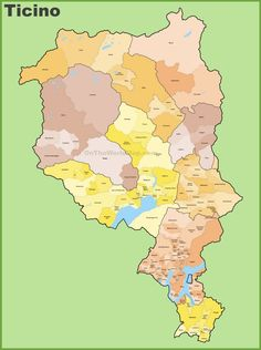 Canton of Ticino map with cities and towns Maps Pinterest