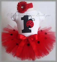 Lady Bug 1st Birthday Tutu Set for 1st Birthday With Matching Headband. $35.00, via Etsy.
