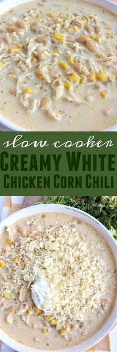 Slow Cooker Creamy White Chicken Corn Chili - Together as Family Chili Recipes, Slow Cooker Recipes, Crockpot Recipes, Soup Recipes, Cooking Recipes, Chicken Recipes, Recipies, Dinner Recipes, Family Recipes