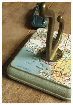 boston, massachusetts wall hook. made from repurposed vintage materials, by bee vintage redux.
