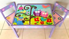 Baby Owls and Squirrels Play Table and 2 Chairs by PaintedbyLinda