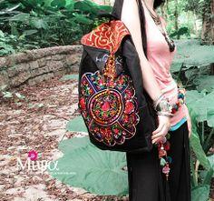 vintage bordado mochilas de moda las mujeres lienzo bolsas de viaje estilo étnico bolsas