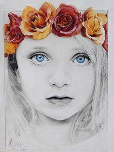 Girl with a Flower Crown, Mixed Pencils