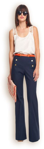 high waist, sailor trouser, summer work outfits, architect outfit, buttons