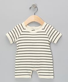 SoftBaby Neutral White & Black Stripe Organic Romper//